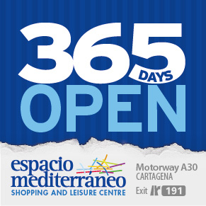 Espacio Mediterráneo shopping centre Cartagena Murcia: open seven days a week