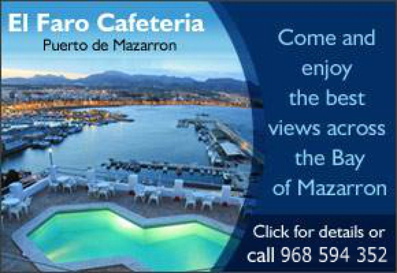 El Faro Cafe Bar Puerto de Mazarron opens from Easter.