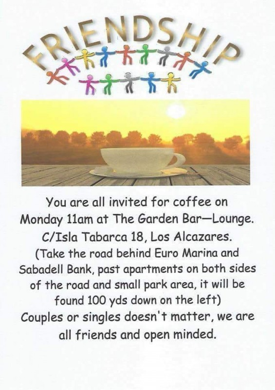 Every Monday Friendship Group coffee morning Los Alcázares