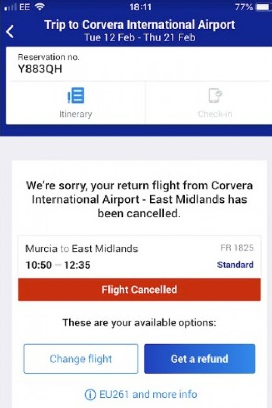 <span style='color:#780948'>ARCHIVED</span> - 24 hours of chaos for users as Ryanair cancel flights to Murcia and then reinstate them