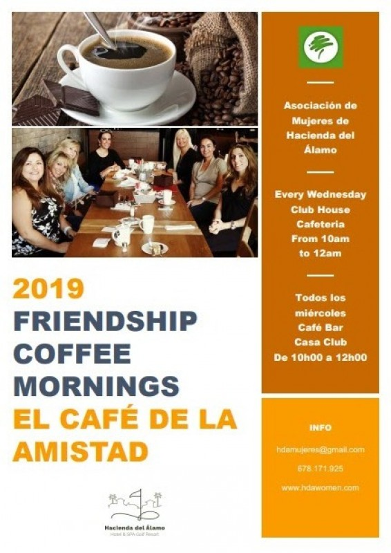 <span style='color:#780948'>ARCHIVED</span> - Every Wednesday coffee morning for ladies on Hacienda del Álamo resort in Fuente Álamo