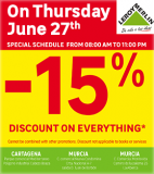 Get 15% off EVERYTHING at Leroy Merlin Stores Murcia on Thursday 27th June 2019