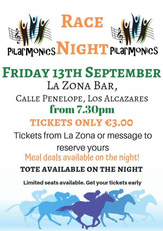 <span style='color:#780948'>ARCHIVED</span> - 13th September; Fundraising race night for Pilarmonics in Los Alcázares