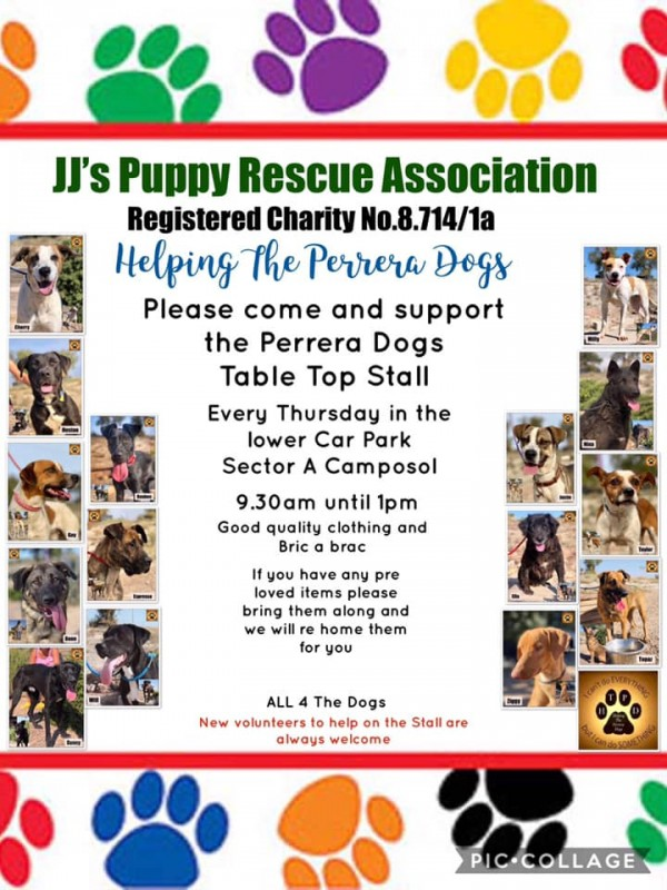 <span style='color:#780948'>ARCHIVED</span> - Every Thursday on Camposol Table top sale for JJs Puppies and Helping the Perrera Dogs