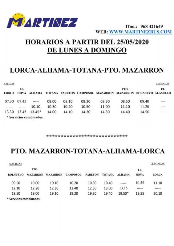 Lorca-Alhama-Totana-Mazarrón bus service spring 2020