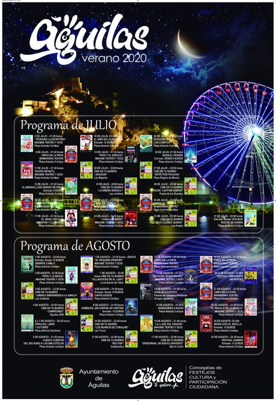 Águilas entertainments programme for July and August