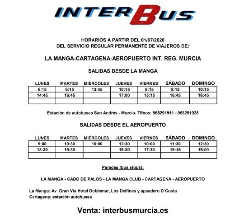 <span style='color:#780948'>ARCHIVED</span> - Bus services; Corvera airport Murcia - golf resorts and towns Costa Cálida 2020