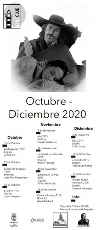 Águilas cinema club Autumn programme: 15th October to December 17th