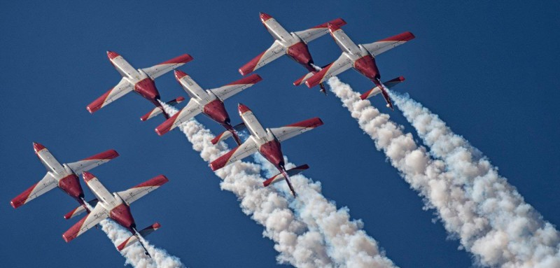 The Patrulla Aguila, the Spanish Air Force aerobatics display team based in San Javier