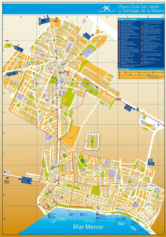 Street map for San Javier and Santiago de la Ribera